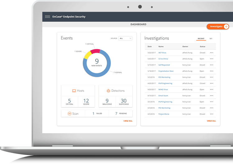 EnCase Endpoint Security Dashboard UI